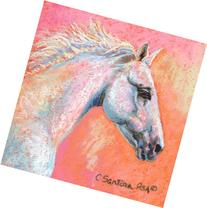 """White Lightning"" - Pastel Drawing of a White Horse"