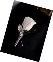 White Rose Boutonniere with Silver Ribbon