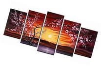 Wieco Art - 5 Panels Plum Tree Blossom Modern Giclee Canvas