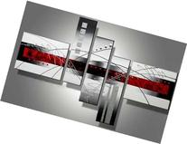 Wieco Art 5-Piece Perfect White Lines Stretched and Framed