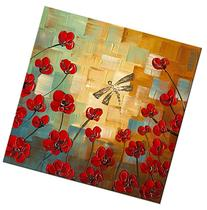 Wieco Art Dragonfly Floral Oil Paintings on Canvas Wall Art