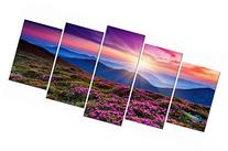 Wieco Art - Mountains in Sunrise 5 Panels Modern Stretched