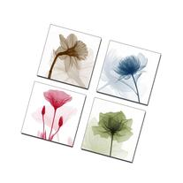 Wieco Art P4R1x1-07 4-Panel Canvas Print Flickering Flowers