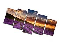 Wieco Art - Provence Lavender 5 Piece Giclee Canvas Prints