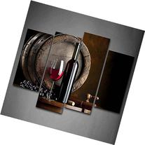 Wine And Fruit With Glass And Barrel Wall Art Painting For