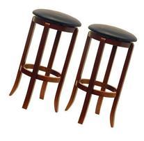Winsome Wood 30-Inch Black PVC Seat Walnut Bar Stools, Set