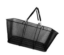 Wire Mesh Stacking Shopping Basket with Vinyl Handles, Black