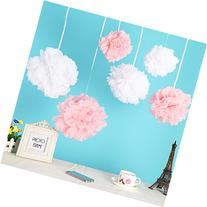 Wisehands 12pcs Mixed 3 Sizes White Pink Tissue Paper Pom