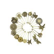 Wisehands 15 Pcs Bronze Vintage Hijab Pins /Brooch Pins/