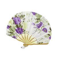 Woman Purple Flower Pattern Beige Bamboo Frame Nylon Folding