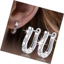 EIGA Women's Jewelry Silver-plated Rhinestones Earrings