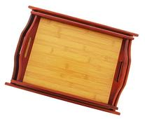 Wood Serving Tray - Large Medium Stackable Carrying Tray