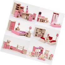 Wooden Furniture Dolls House Miniature 6 Room Type Learn