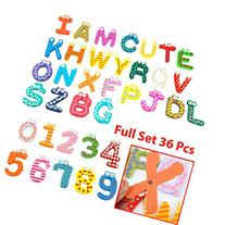 Wooden Magnetic Numbers Letters Alphabet ABC's Fun Bright