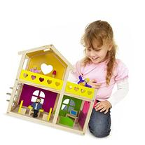 Wooden Wonders Cozy Cottage Dollhouse with 10 Pieces of