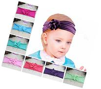 ZHW Baby Girls Cotton Turban Headbands Hair Flower Hairband