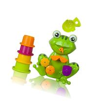 Zig Zag Kid Toddler Bath Tub Toy, Green Frog With 4 Stacking