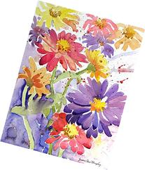 Zinnias in the Field, Giclee Print of Watercolor Flower