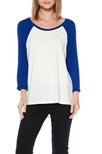 A.S Baseball Contrast 3/4 Sleeve Scoop-neck Tee Shirts
