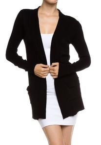 A.S Women's Cotton Nylon Sweater Knit Open Front Cardigan