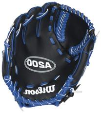 "Wilson A200 Boy Glove, Right Hand Throw, 10"", Black/Blue"