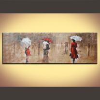 """Waiting in the Rain"" Abstract Romantic Painting Printed on"