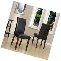 Acadian Parson Chair , Faux Leather - Midnight Black