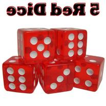 5 Red Dice - 16 mm