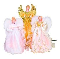 """14"""", 10-Light Angel Tree Topper Ivory in color with Gold"""