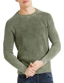 Topman Acid Wash Raglan Sweater-KHAKI/OLIVE-X-Large