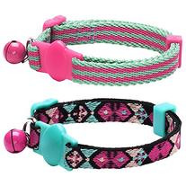 Blueberry Pet Pack of 2 Cat Collars, Geometric Design