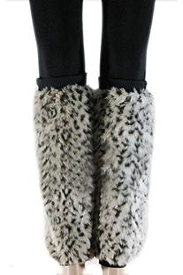 Browm And Grey Chicken Chick Fur Hair Print Fuzzy Boot