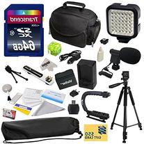 Advanced Accessory Kit for Canon VIXIA HF R52 HFR52, HF R50