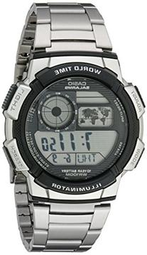 Casio Mens AE1000WD-1AVCF World Time Silver-Tone Bracelet