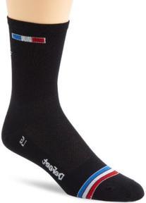 DeFeet Men's Aerator Tall Patriot Sock, Black, Small