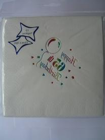 Age 65/ - Pack Of 15 Party Napkins {white/multi/3 Ply