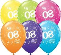 "Age 80-A-Round 80th Birthday Tropical Assorted 11"" Qualatex"
