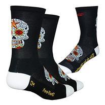 DeFeet Aireator Hi-Top 5in Sock Sugar Scull Black/White, XL