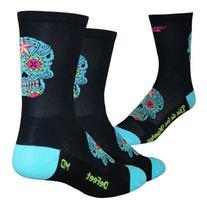 Defeet Aireator Tall Sugarskull Socks, Black/Neptune, X-
