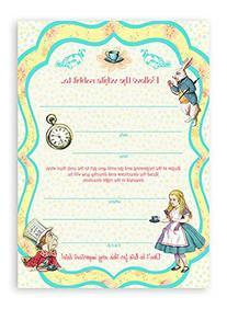 Alice in Wonderland LARGE Invitations - 10 Invitations 10