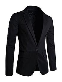 Allegra K Men Long Sleeves Padded Shoulders Notched Lapel