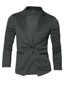 Allegra K Men Nocth Lapel Long Sleeve Button Closure Casual