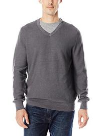 IZOD Men's Allover Links V-Neck Sweater, Carbon Heather,