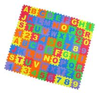Alphabet Letters and Numbers Foam Puzzle Square Floor Mat,