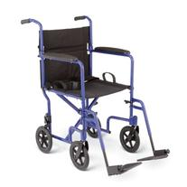 Medline Aluminum Transport Chair with Wheels, Blue, 8 inch