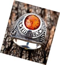BRAND NEW AMBER LUCKY AMULET STONE 925 STERLING SILVER MENS
