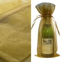 Gold Bottle & Wine Organza Favor Gift Bags, 6.5x15-Inch,