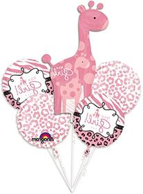 Girl Baby Shower Balloon Bouquet - Sweet Safari Girl