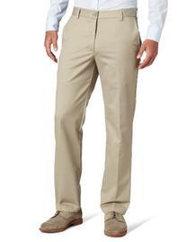 IZOD Men's American Chino Flat Front Slim Fit Pant, Khaki,