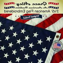 American Flag: 100% American Made - Embroidered Stars and